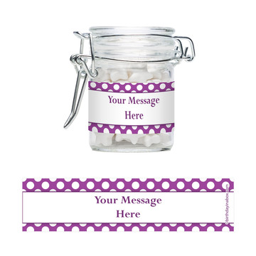 Purple Dots Personalized Glass Apothecary Jars (12 Count)