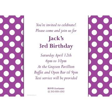 Purple Dots Personalized Invitation (Each)