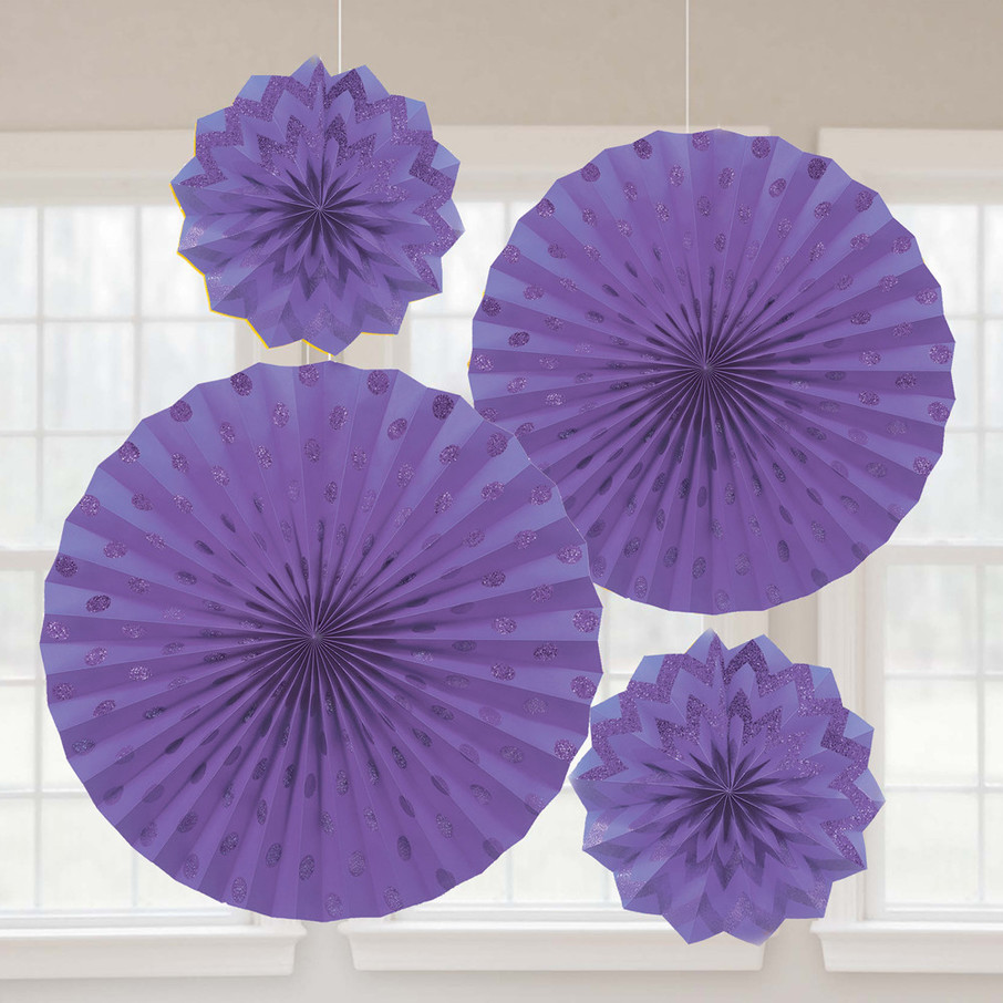 View larger image of Purple Glitter Paper Fan Decorations (4 Pack)