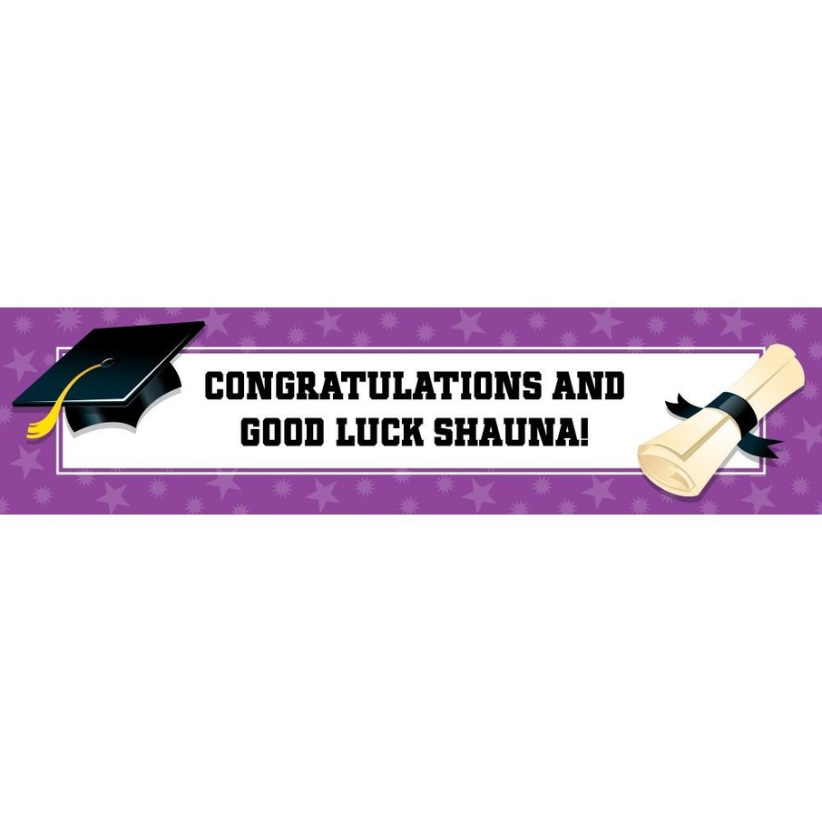 View larger image of Purple Graduation Personalized Banner (Each)
