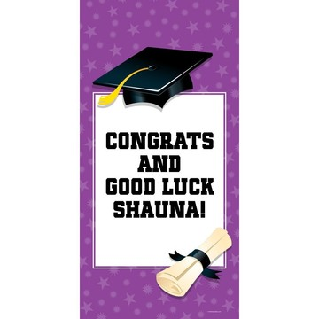 "Purple Graduation Personalized Giant Banner 30x60"" (Each)"