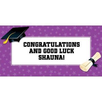 "Purple Graduation Personalized Giant Banner 60x30"" (Each)"