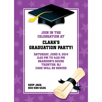 Purple Graduation Personalized Invitation (Each)