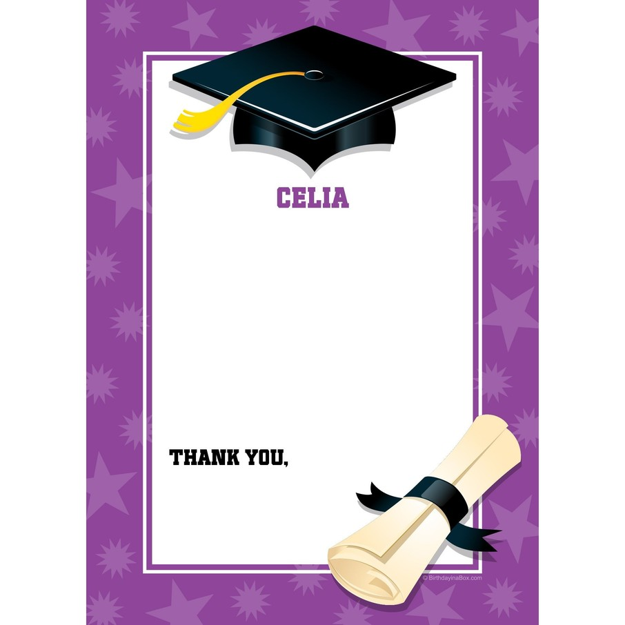 View larger image of Purple Graduation Personalized Thank You (Each)