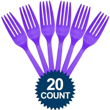 Purple Plastic Forks (20 Pack)