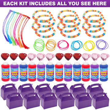 Purple Treat Box Party Favor Kit (For 12 Guests)