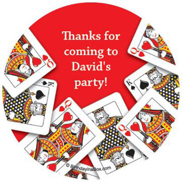 Queen's Card Party Personalized Stickers (sheet of 12)