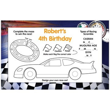 Race Cars Personalized Activity Mats (8-Pack)
