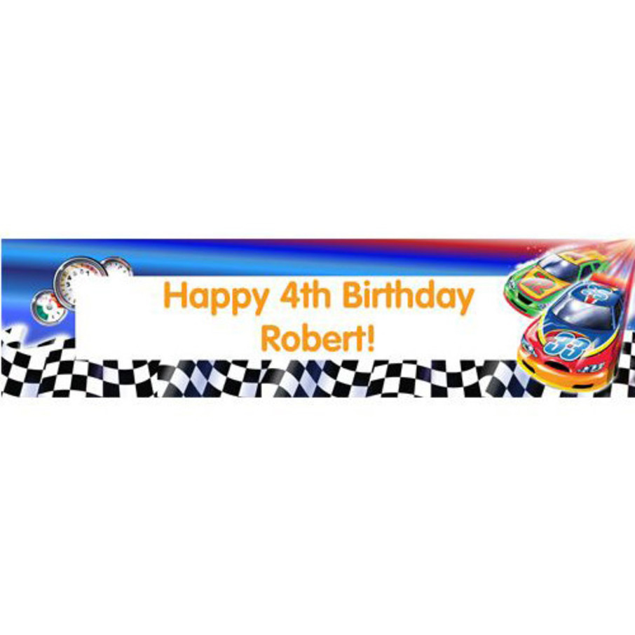 View larger image of Race Cars Personalized Banner (each)