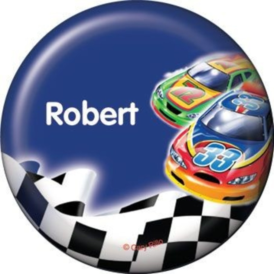 View larger image of Race Cars Personalized Button (each)