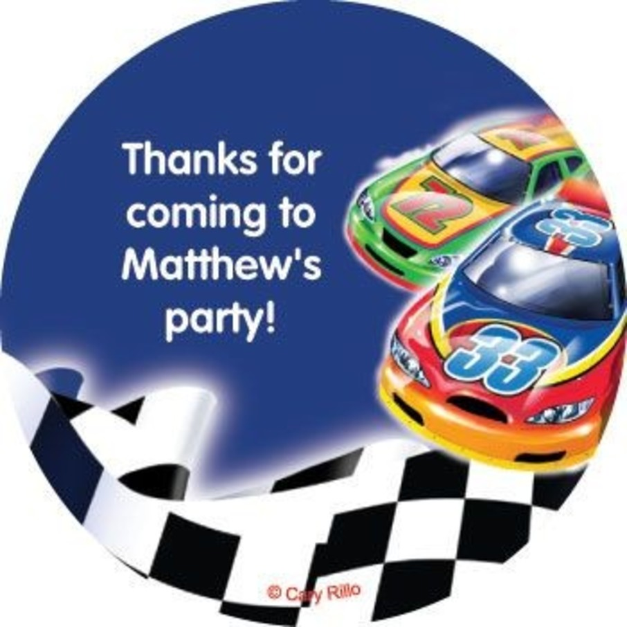 View larger image of Race Cars Personalized Stickers (sheet of 12)