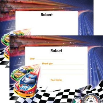Race Cars Personalized Thank You Note (each)