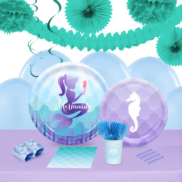 Mermaids Under The Sea 16 Guest Tableware Deco Kit