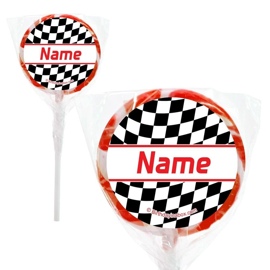 """View larger image of Racing Flag Personalized 2"""" Lollipops (20 Pack)"""
