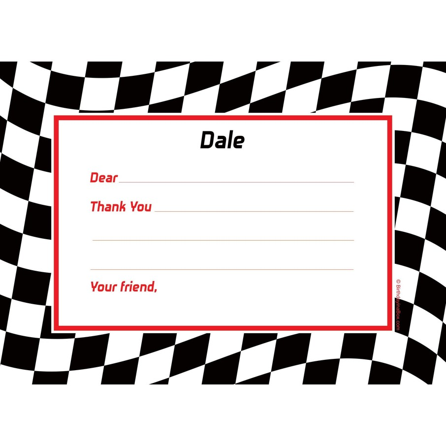 View larger image of Racing Flag Personalized Thank You Note