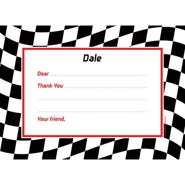 Racing Flag Personalized Thank You Note