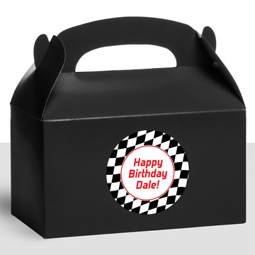 Racing Flag Personalized Treat Favor Boxes (12 Count)