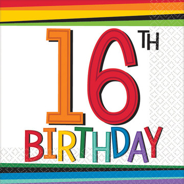 Rainbow 16th Birthday Beverage Napkins (16 Count)