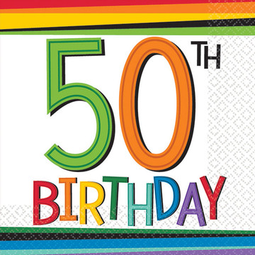 Rainbow 50th Birthday Beverage Napkins (16 Count)