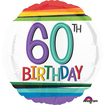 "Rainbow Birthday 60th Birthday 17"" Balloon (Each)"
