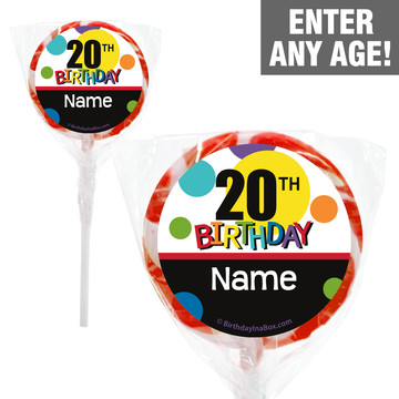 "Rainbow Birthday Add-Any-Age Personalized 2"" Lollipops (20 Pack)"
