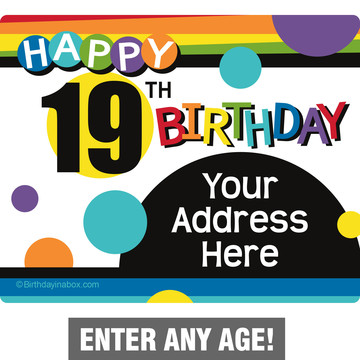 Rainbow Birthday Add-Any-Age Personalized Address Labels (Sheet of 15)
