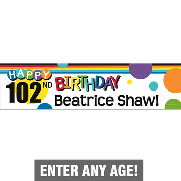 Rainbow Birthday Add-Any-Age Personalized Banner (Each)