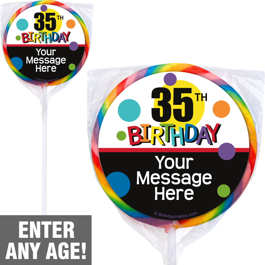 View larger image of Rainbow Birthday Add-Any-Age Personalized Lollipops (12 Pack)