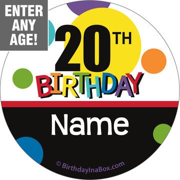 Rainbow Birthday Add-Any-Age Personalized Mini Stickers (Sheet of 24)