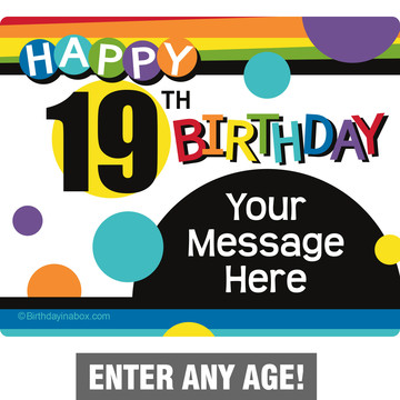 Rainbow Birthday Add-Any-Age Personalized Rectangular Stickers (Sheet of 15)