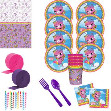 Rainbow Butterfly Unicorn Deluxe Tableware Kit with Favor Cup(Serves 8)