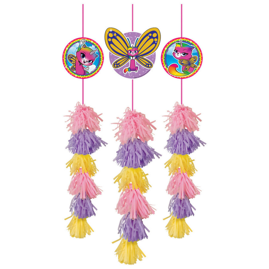 View larger image of Rainbow Butterfly Unicorn Kitty Hanging Tassel Decorations (3)