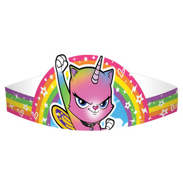 Rainbow Butterfly Unicorn Kitty Paper Party Crowns (8)