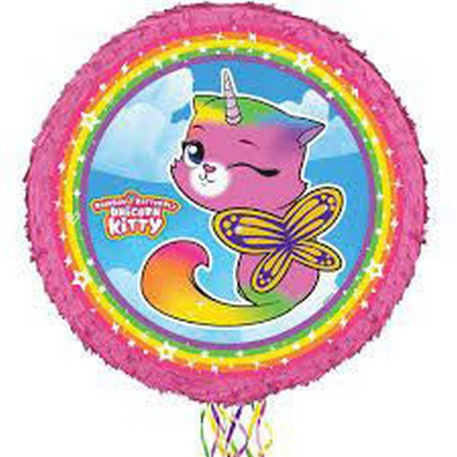 View larger image of Rainbow Butterfly Unicorn Kitty Round Pinata