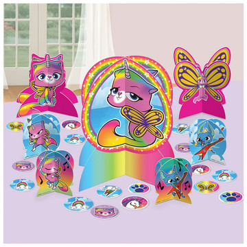 Rainbow Butterfly Unicorn Kitty Table Decoration Set