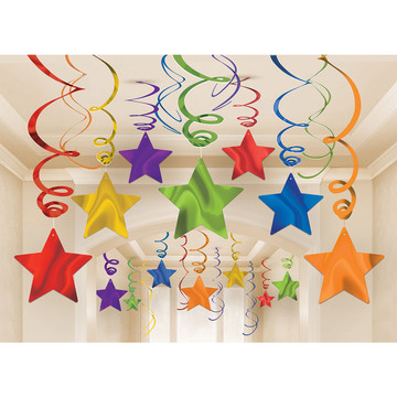 Rainbow Foil Star Hanging Decorations (30 Count)
