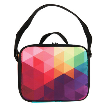 Rainbow Fractal Canvas Lunch Tote