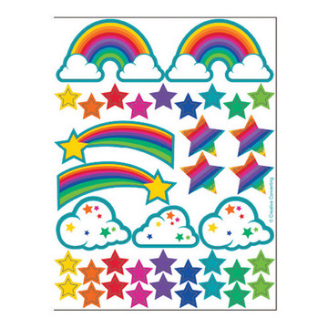 Rainbow Glitter Stickers 2ct