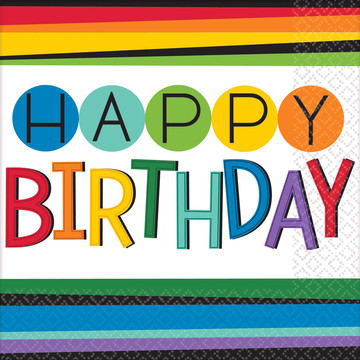 Rainbow Happy Birthday Lunch Napkins (16 Count)