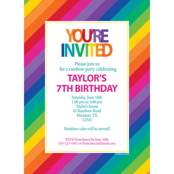 Rainbow Personalized Invitation (Each)