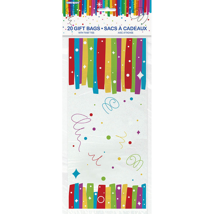 "View larger image of Rainbow Ribbons Birthday Cello Bag 5""X11"" (20)"