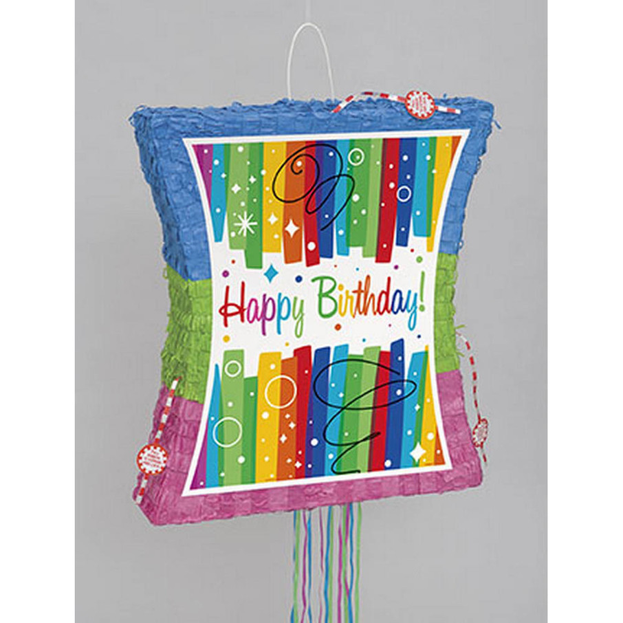 View larger image of Rainbow Ribbons Birthday Popout Pinata