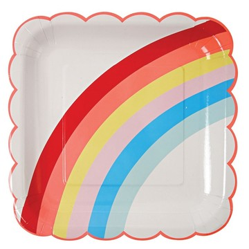 Rainbow Scalloped Lunch Plates, 12ct