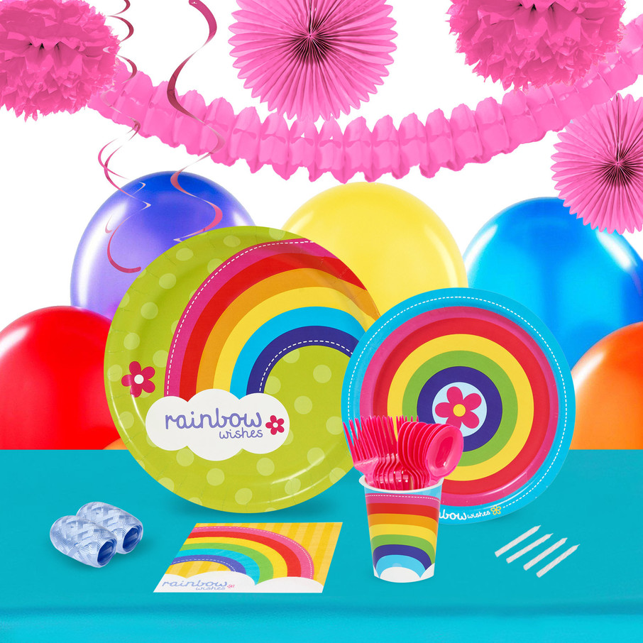 View larger image of Rainbow Wishes 16 Guest Tableware Deco Kit
