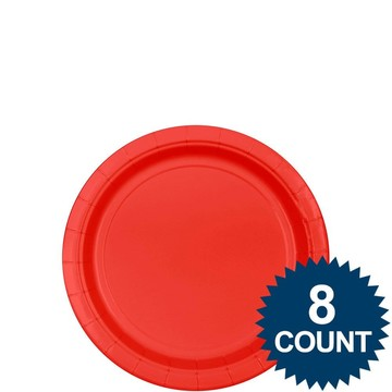"""Red 7"""" Paper Plate, 8ct."""