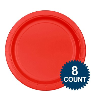 "Red 9"" Paper Plate, 8ct."