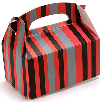 Red and Black Striped Empty Favor Boxes