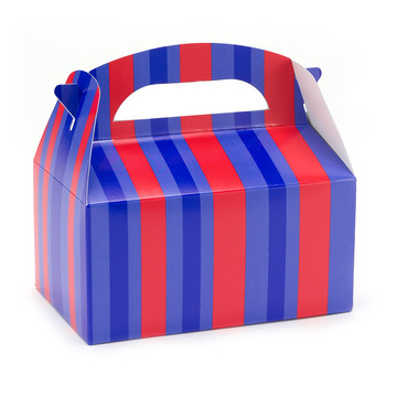 Red and Blue Striped Empty Favor Boxes