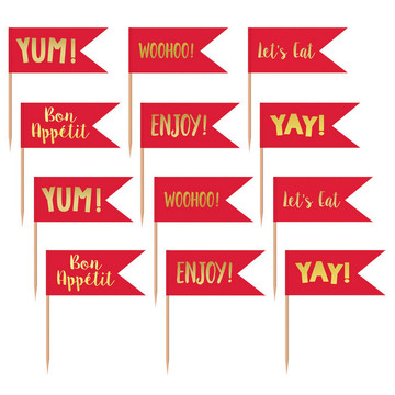 Red and Gold Cupcake Toppers (24)