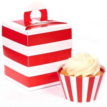 Red and White Striped Cupcake Wrapper Box Kit